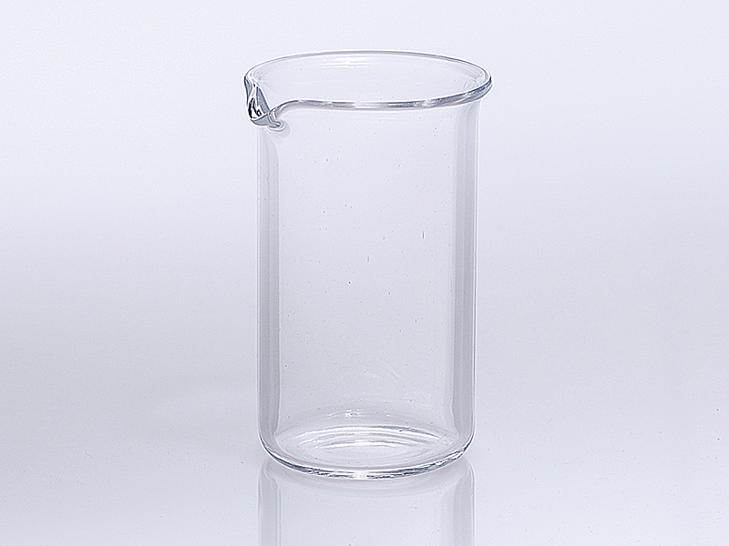 Quarzglas Becher hohe Bauform mit Ausguss nach DIN 12 330
