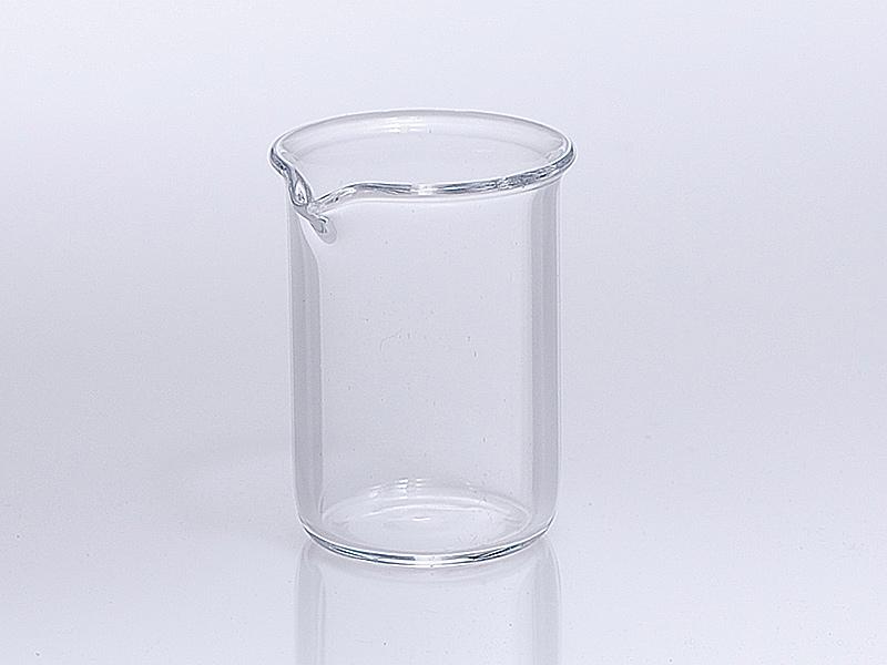 Quarzglas Becher mit Ausguss niedrige Bauform nach DIN 12 330